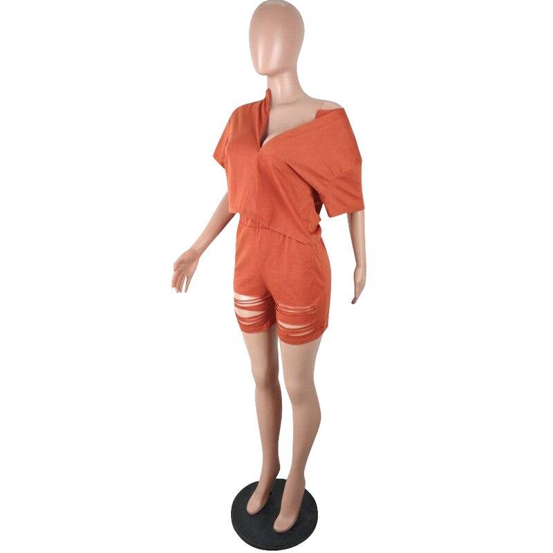 Zoctuo 2020 твердые двух частей короткий комплект для женщин с коротким рукавом молнии футболки и отверстие шорты брюки комплект V-образным вырезом два кусок наборы