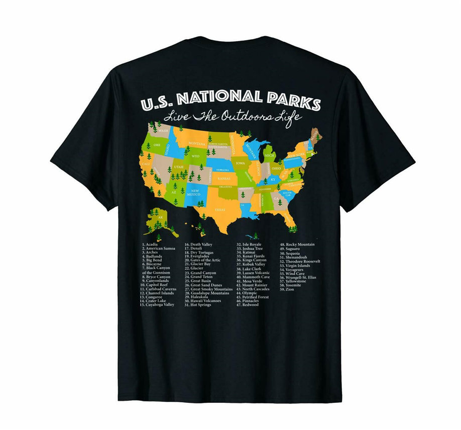 (Print On Back) National Park Map T Shirt All 59 National Parks Inside Us Retro O Neck Tee Shirt image