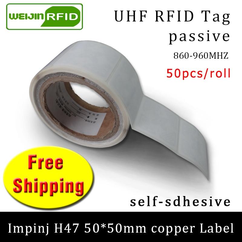 RFID Tag UHF Sticker Impinj H47 Printable Copper Label 860-960MHZ  EPC 6C 50pcs Free Shipping Adhesive Passive RFID Label