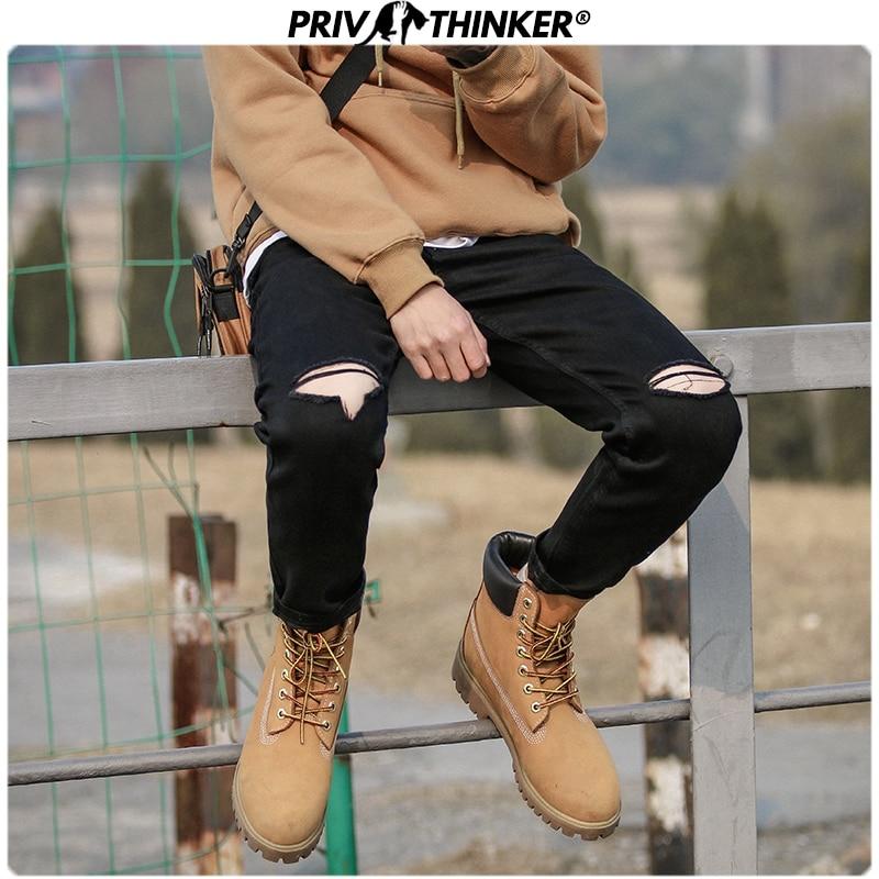 Privathinker Men Black Casual Solid Slim Jeans Pants 2020 Mens Hip Hop Streetwear Hole Denim Pants Male Fashion Bottoms Jeans