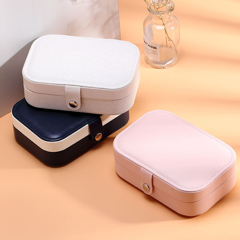 Jewelry Box Velvet Double Layer Waterproof Jewelry Organizer Portable Jewelry Packaging Earrings Gift Boxes For Jewellery