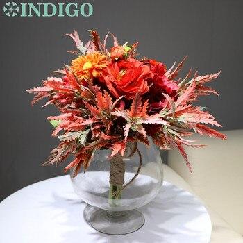 Ramo rojo con diseño de índigo, arreglo de Hortensia y anémona, ramo de novia, fiesta de Navidad, venta exclusiva, Envío Gratis