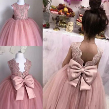 Pink Flower Girl Dress Sleeveless Lace Applique Girls Pageant Tulle Dresses First Hioly Communion Party Dresses