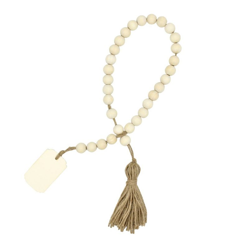 Wood Bead Garland With Tassels And DIY Tag Farmhouse Home Beads Neutral Farmhouse Vintage Home Country Decor