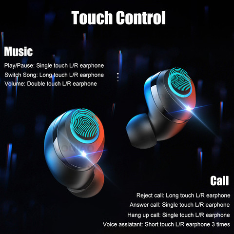 VOULAO Wireless Earphones Bluetooth 5.0 Earphone Mini TWS Wireless Bluetooth Headphones 8D Stereo Touch Control Handfree Headset Lahore