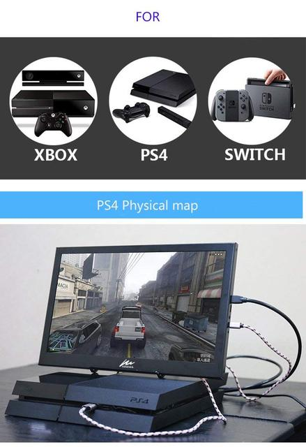 15.6 Inch IPS Gaming Monitor 1920x1080 HD slim Portable Monitor with HDMI, Audio Output, USB Powered, built-in Speaker For PS4/3