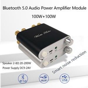 Image 1 - ZK 1002D 블루투스 5.0 무선 스테레오 오디오 전력 증폭기 보드 TPA3116D2 100W + 100W 자동차 앰프 Amplificador 홈 시어터 AUX USB