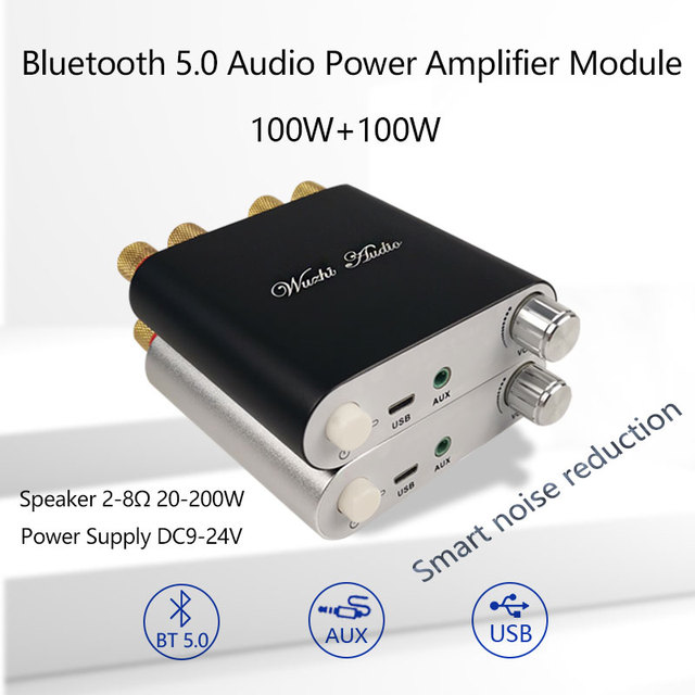 ZK 1002D 블루투스 5.0 무선 스테레오 오디오 전력 증폭기 보드 TPA3116D2 100W + 100W 자동차 앰프 Amplificador 홈 시어터 AUX USB