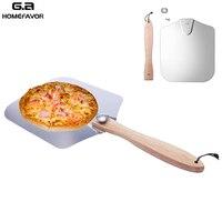 Casca de pizza de alumínio com alça de madeira dobrável pá de pizza personalizada paddle ferramentas de pastelaria de cozimento ao ar livre