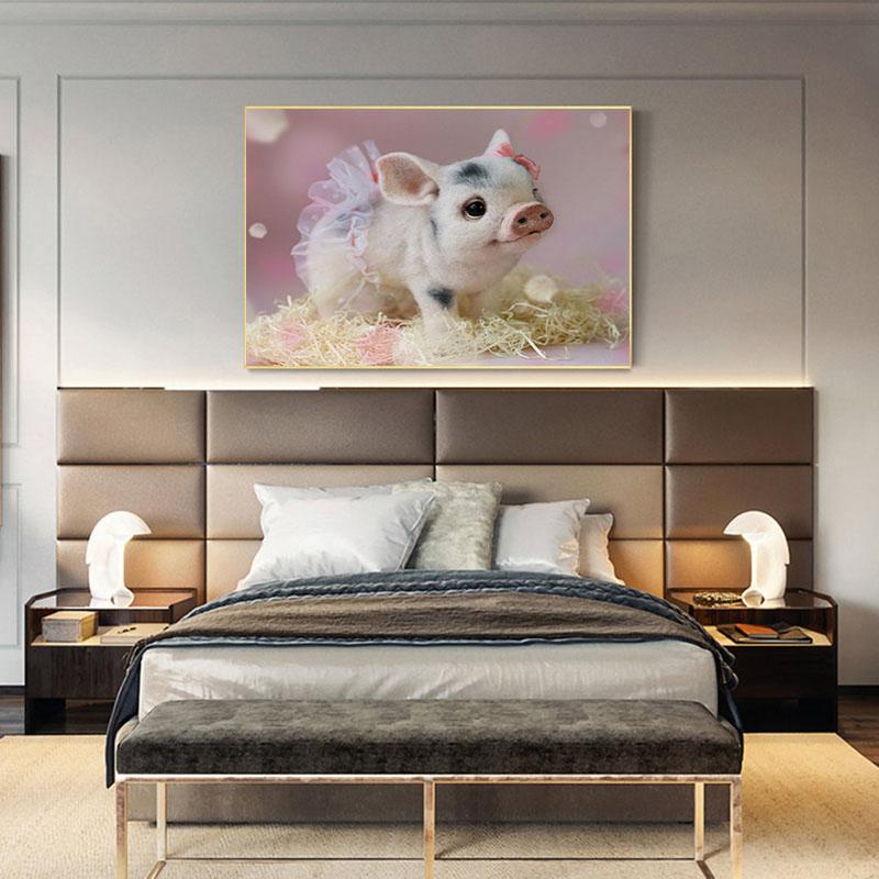 Diy 5d diamond painting animal cross stitch pig embroidery full