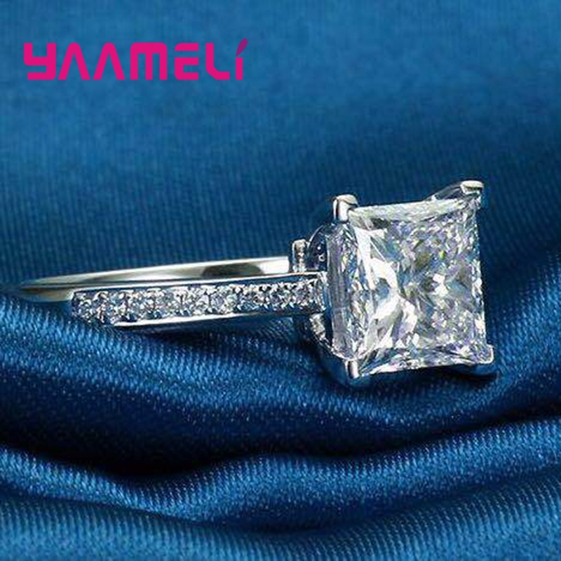 Vintage 925 Sterling Silver Jewelry Luxury Charming Cubic Zircon Crystals Paved Rings For Women Girls Proposal Wedding Ring
