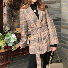 Woolen Suit Collar Women's Jackets Korean Long Sleeve Belt Slim Ladies Blazer Simple and Loose Singl