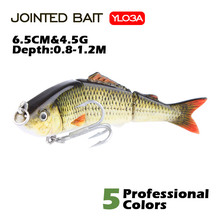 Agoie 65mm/4.5g Wobblers 3 Segment Multi Jointed Artificial Fishing Lure Lifelike Swim Bait Slow Sinking Hard Lures Floating