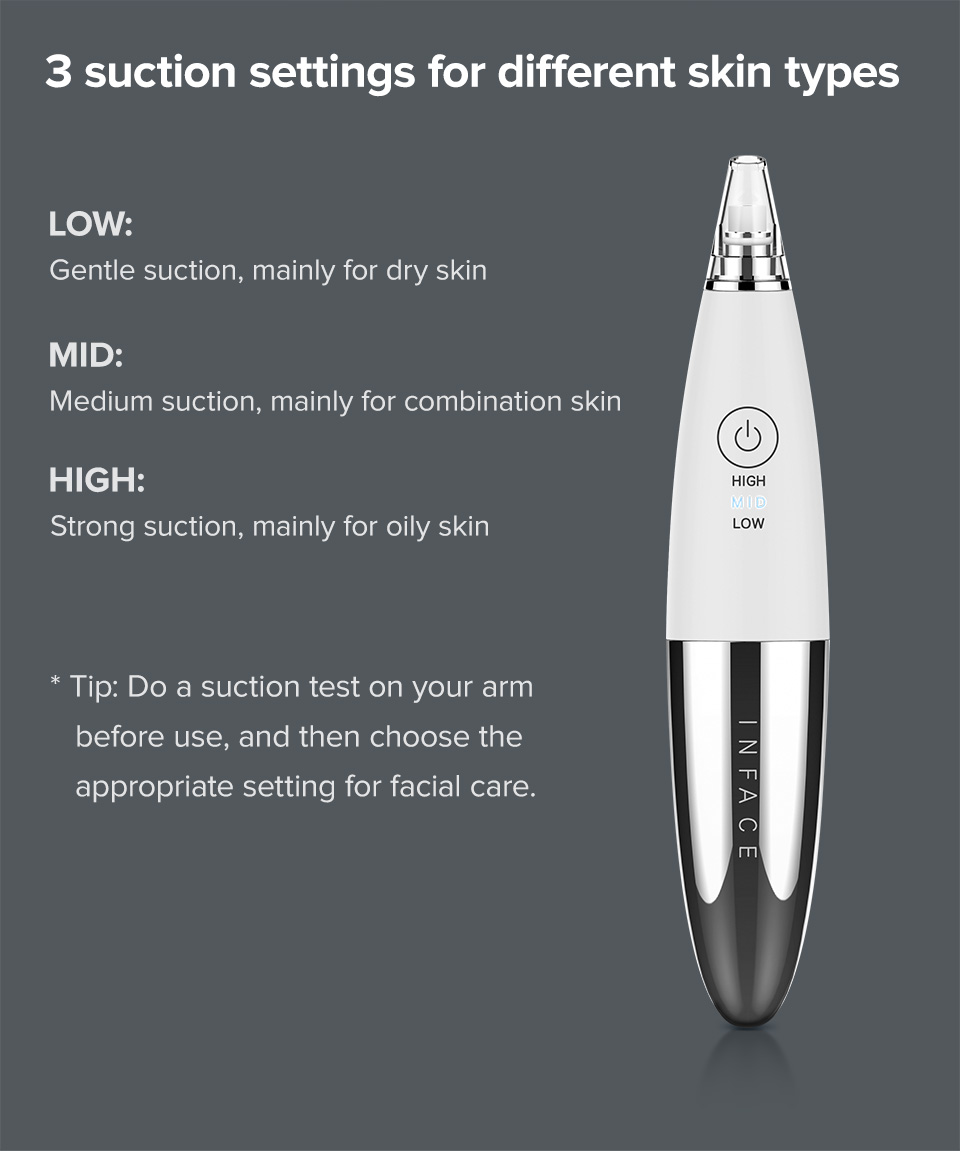 InFace Vacuum Blackhead Remover Skin Care Pore Acne Pimple Removal Blackhead Removal Device Vacuum Pore Cleaner For Face