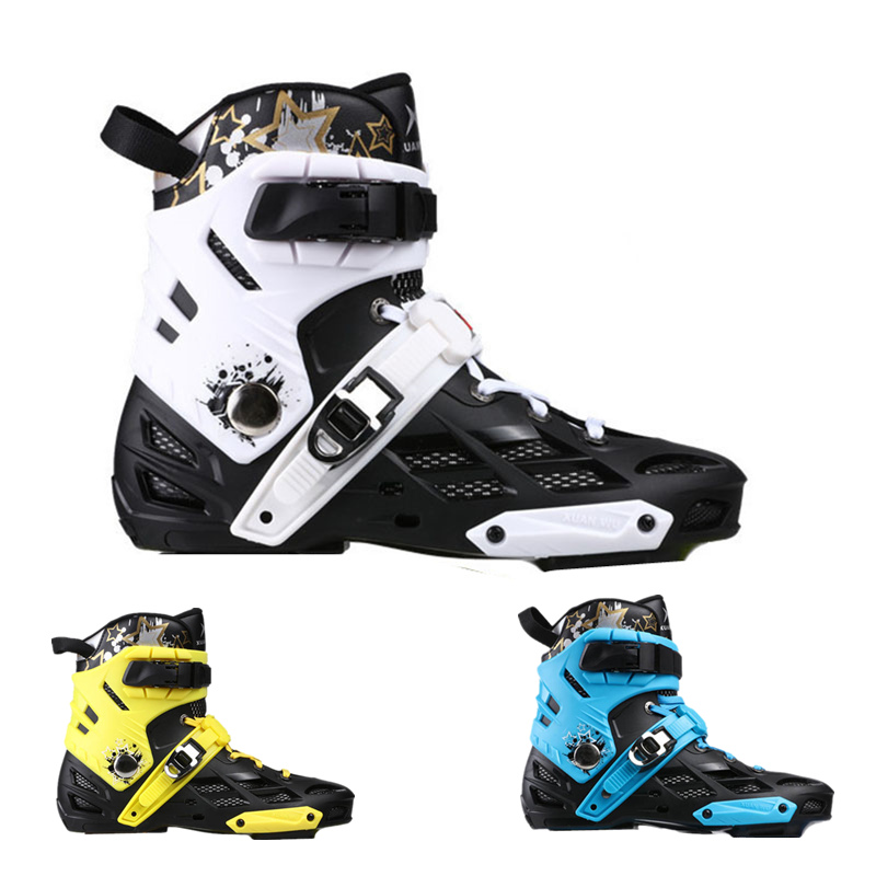 Skates Boot Kids Adult Inline Skates Patines Upper Boots Removable Inner Boot Sock Sleeve Buckle Roller White Blue Gold 35-44