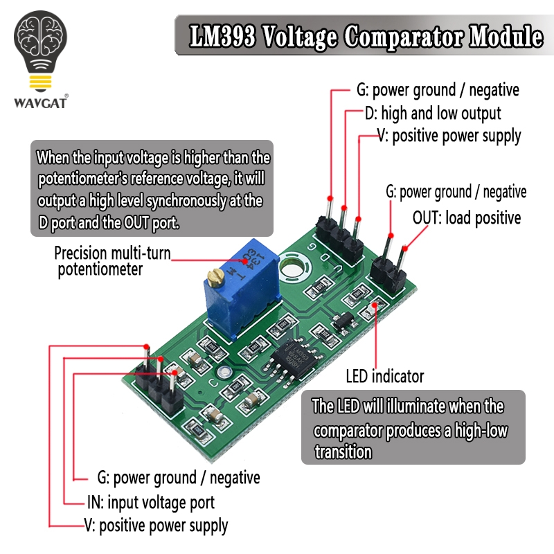 LM393 3.5-24V Voltage Comparator Module High Level Output Analog Comparator Control With LED Indicator