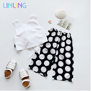 цена на Girls Clothing Sets New Summer Fashion Tops and Polka Dot Pants 2Pcs Casual Suits Girl Kid Summer Clothes Children Clothing