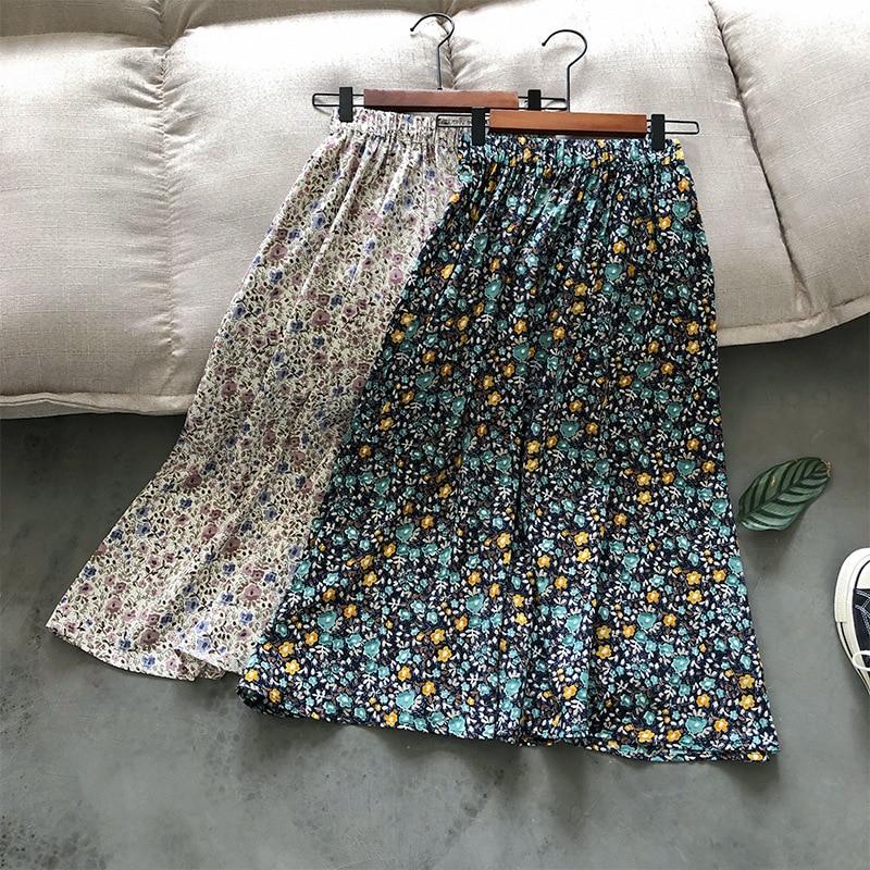 2020 Summer Floral Skirt Women's A-character High Waist Mid-length Slim Skirt
