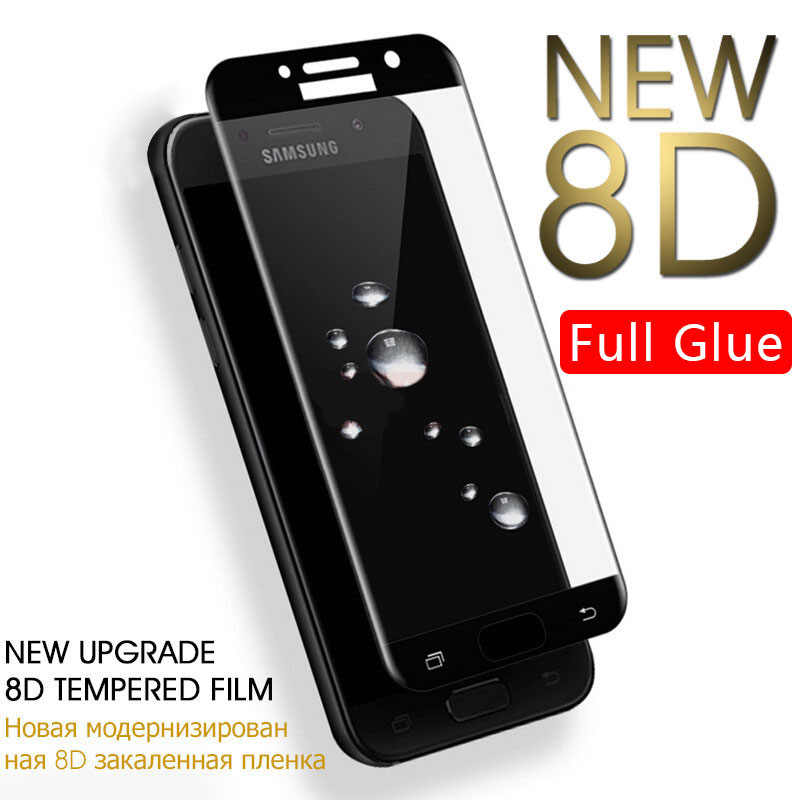 Case On The For Samsung A3 A5 A7 J3 J5 J7 2017 Cover Full Glue Tempered Glass Galaxy A J 3 5 7 Phone Screen Protector Protective
