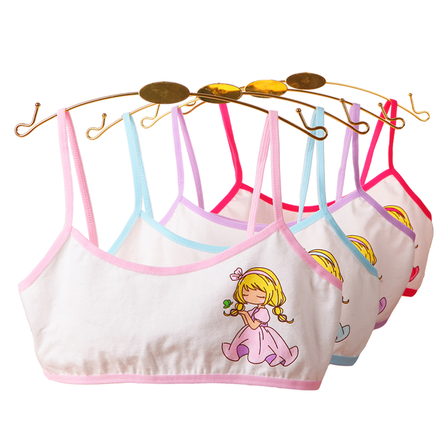 4pcs Girls Training Bras Young Girl Bra Cotton Teenage Underwear For Kids Summer  Teens Puberty Clothing