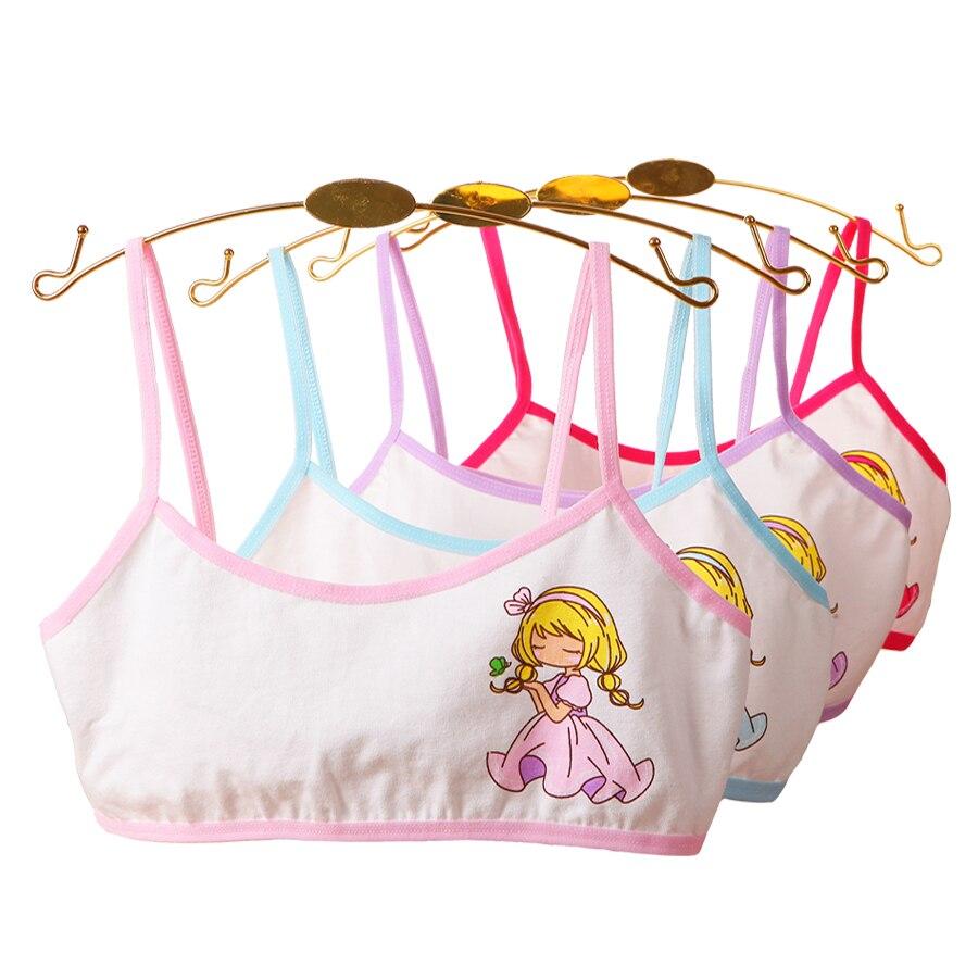4pcs Girls Training Bras Young Girl Bra Cotton Teenage Underwear For Kids Summer  Teens Puberty Clothing