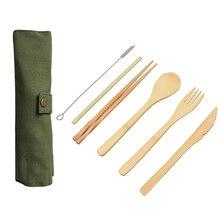 Набор столовых приборов из 6 предметов портативный деревянный