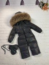 Real fur hooded 2020 Winter Jacket child jackets children jumpsuit snow suit girl overall down romper ski suits outerwear