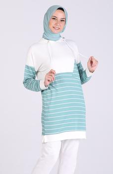 Minahill zielona tunika 5327-06 tanie i dobre opinie Aplikacje Bluzki i koszule Octan Dla dorosłych