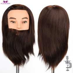 100% Real Hair Male Mannequin Head With Hair Beard For Hairdressers Salon Hairdressing Male Training Heads For Cutting