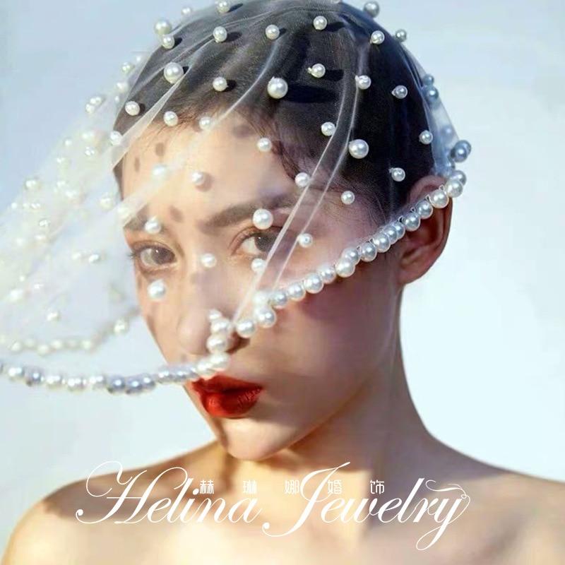 veil bridal veils velo de novia In Stock Short One Layer waist length beaded Diamond appliqued white or ivory