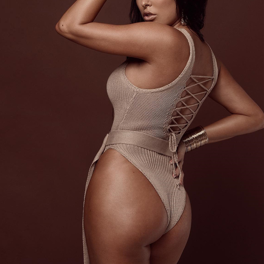 QUEVOON Crochet Bodysuits Straped Hollow Out Backless Bandage With Belts Sexy Beachwear Body Suits Fashion Solid Skinny Rompers