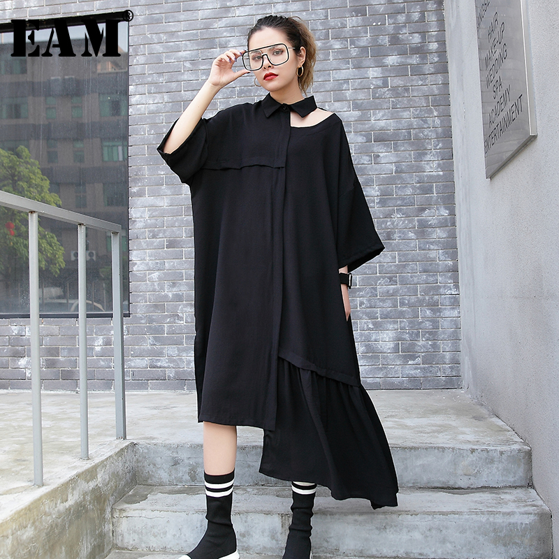 [EAM] Women Black Hollow Out Asymmetrical Big Size Dress New Lapel Long Sleeve Loose Fit Fashion Tide Spring Autumn 2020 1R794