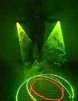 Red Green Laser Whirlwind Handheld Laser Cannon for DJ Dancing Club Rotating Lasers Gloves Light Pub Party Laser Show