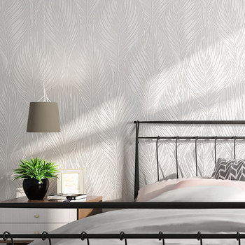 PAYSOTA 3D Banana Leaves Nordic Wallpaper Simple Modern Home Living Room Bedroom White Wall Paper Solid Color
