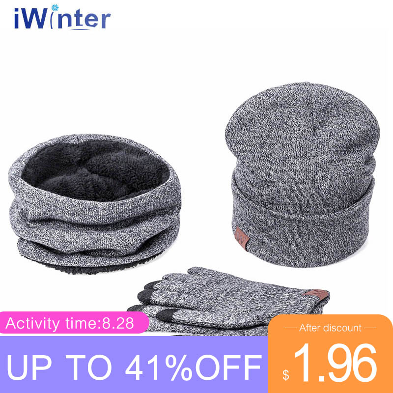IWINTER Hats Gloves-Set Beanies Girl-'s Women For Scarf Warm Skullies Female