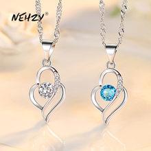 NEHZY 925 ayar gümüş yeni kadın moda takı yüksek kalite kristal zirkon Hollow kalp kolye kolye uzunluğu 45CM