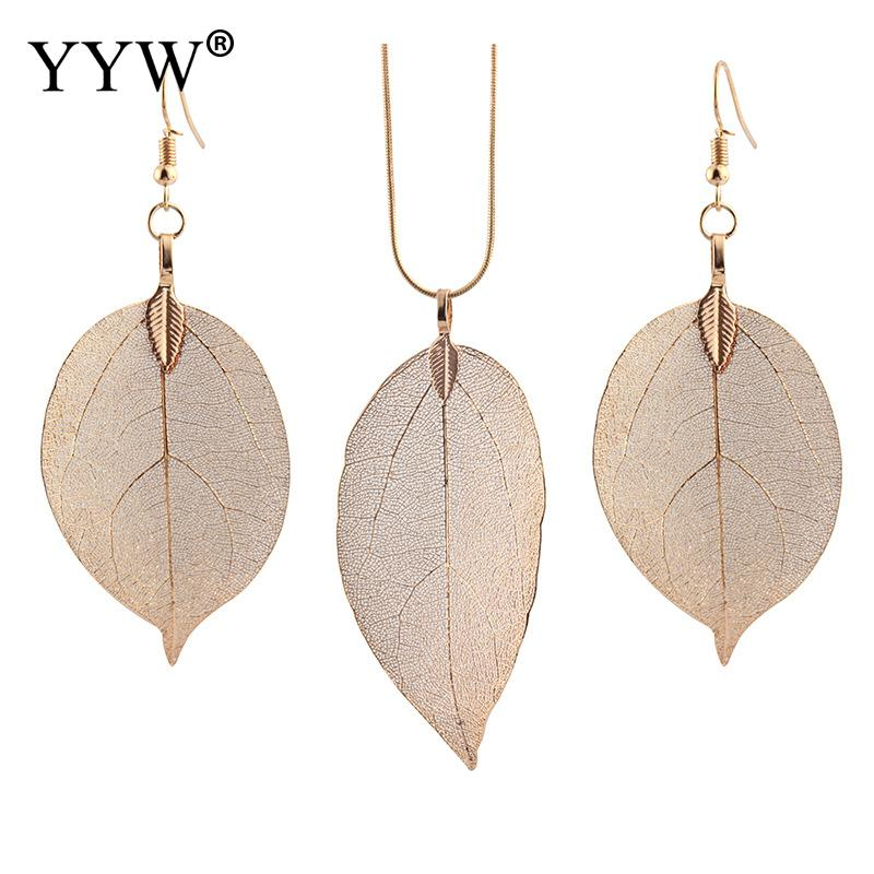 Fashion Zinc Alloy Jewelry Sets Leaf Shape Sweater Chain Necklace Earring Set LoverS Engagement
