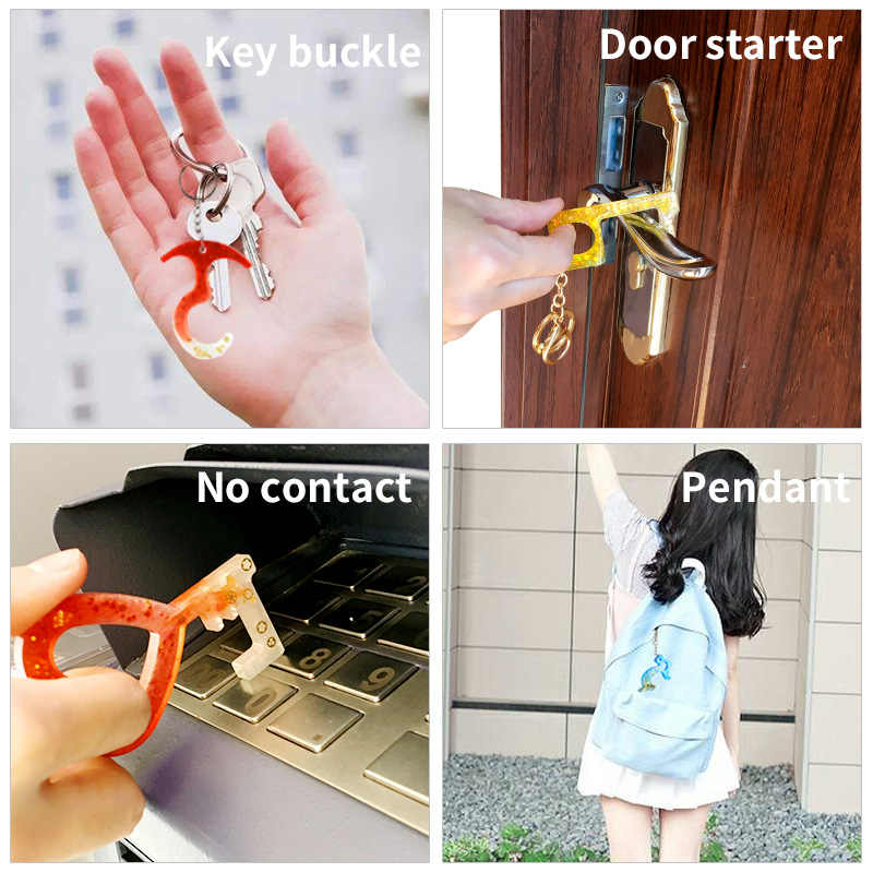 Silicone Non-contact Keychain Door Opener Resin Craft Casting Mold Epoxy DIY bo