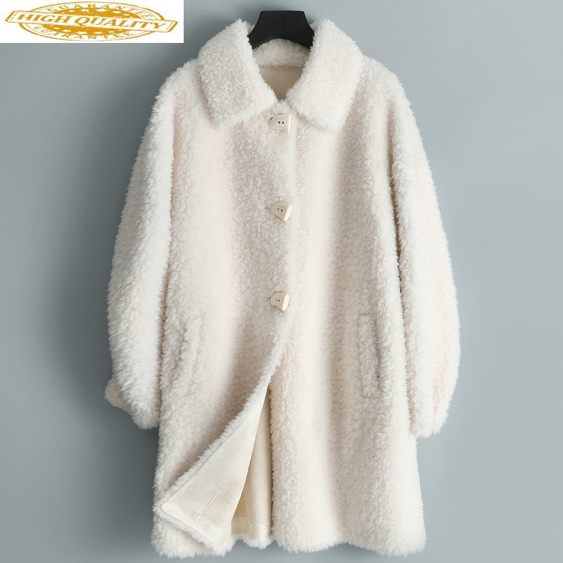 AYUSNUE Real Fur Coat Women Winter Jacket Long Korean Sheep Shearing Fur Coats And Jackets Abrigos Mujer Invierno 2020 TLR2536
