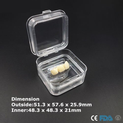 50pcs a Pack Dental Boxes,Plastic Clear Dental Crown Box High Quality Membrane Box Tooth/Jewelry Organizer 5