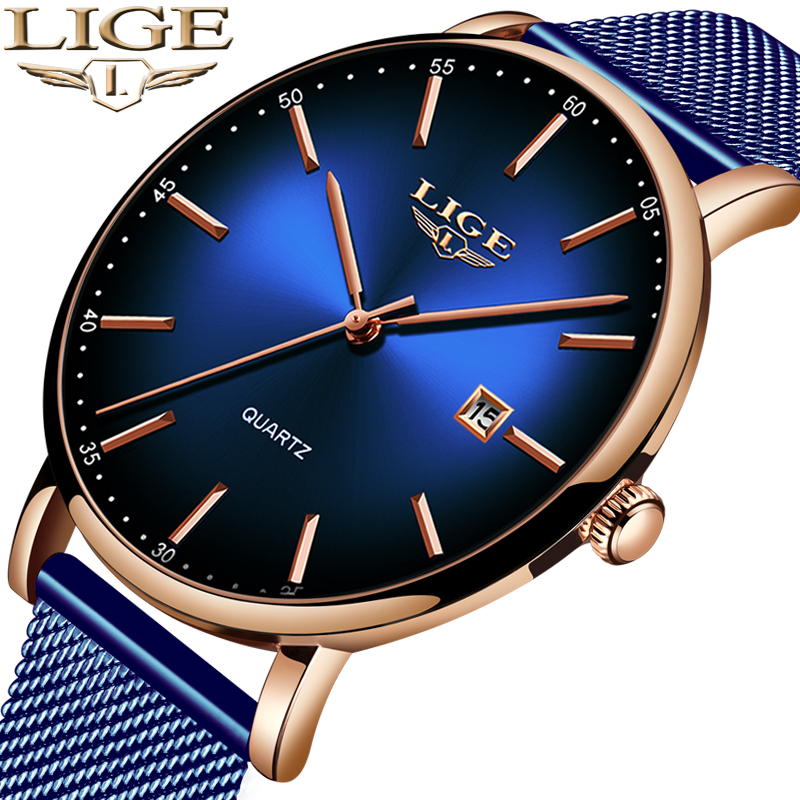 LIGE Mens Watches Sports-Clock Date Blue Waterproof Top-Brand Casual Ultra-Thin Simple