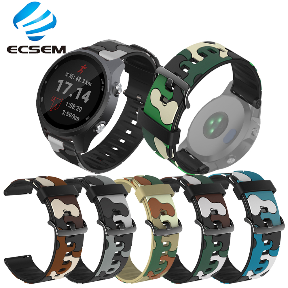 Wrist strap for <font><b>Garmin</b></font> forerunner 245 645 music watch loop <font><b>20MM</b></font> universal <font><b>band</b></font> for vivoactive 3 wristband camouflage strap image