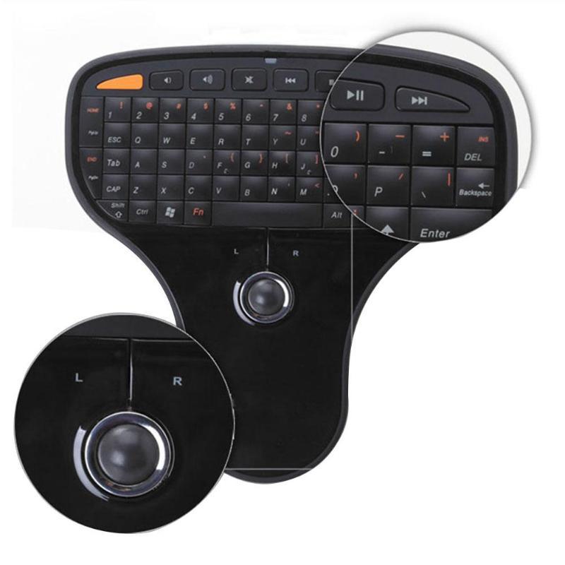 XP//Vista and for Windows 7 Wireless Mini USB Keyboard QWERTY Keyboard 2-in-1 Trackball Multimedia Ultra-Light Design Keyboard for TV Computer for Windows 2000