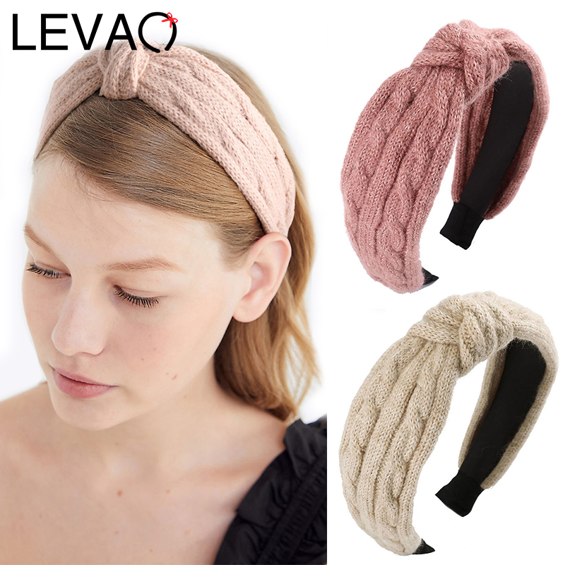 LEVAO China Wool Knitting Headbands Knotted Solid Hairbands Bezel Turban Elegant Women Girls Hair Accessories Headwear Head Hoop
