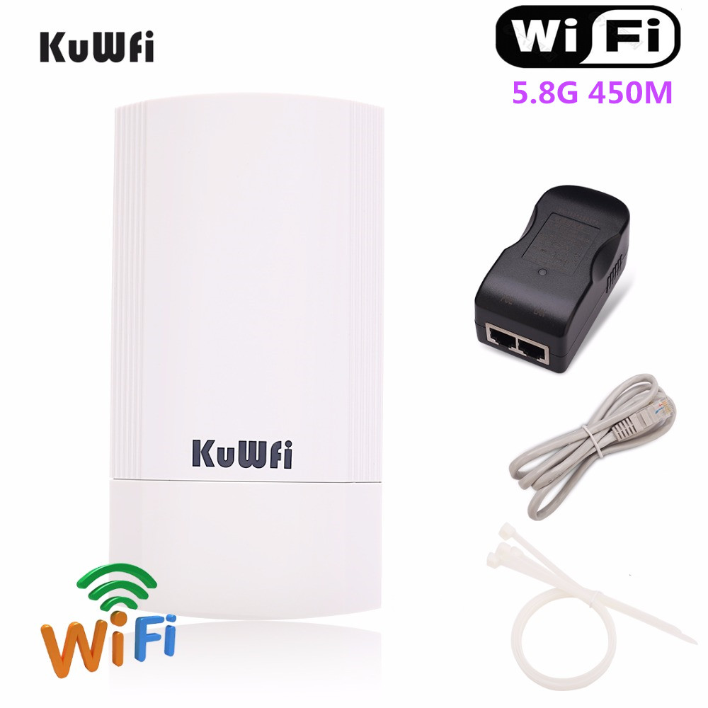 KuWFi 450Mbps Wireless CPE Wifi  Bridge 5.8G Outdoot&Indoor Wireless Repeater/AP Router 1KM Long Distance Wifi Coverage 24V POE