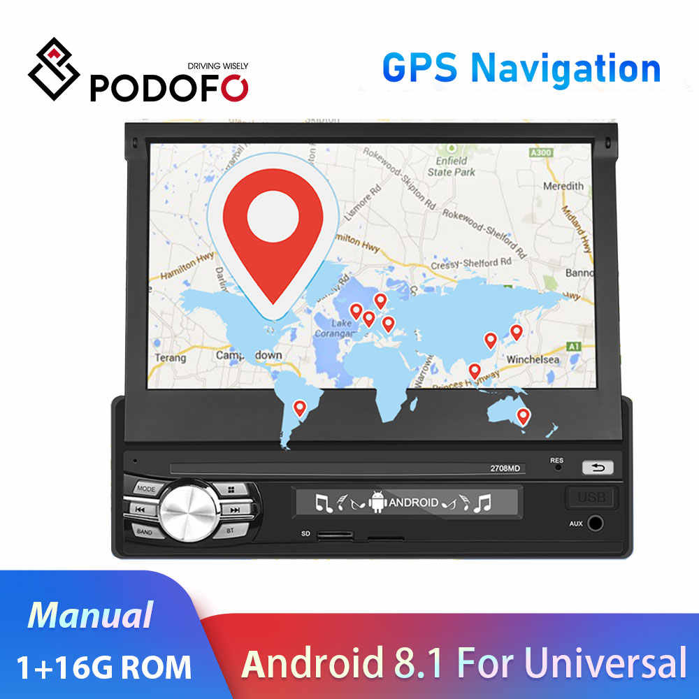 """Podofo 1din カーラジオ 7 """"アンドロイド 8.1 カーラジオマルチメディアプレーヤー GPS ナビゲーション wifi mirrorlink 1Din ユニバーサル autoradio"""