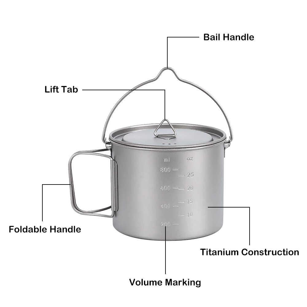 Pote de titânio leve portátil pendurado pote caneca copo água com alça tampa acampamento ao ar livre caminhadas mochila 1100ml