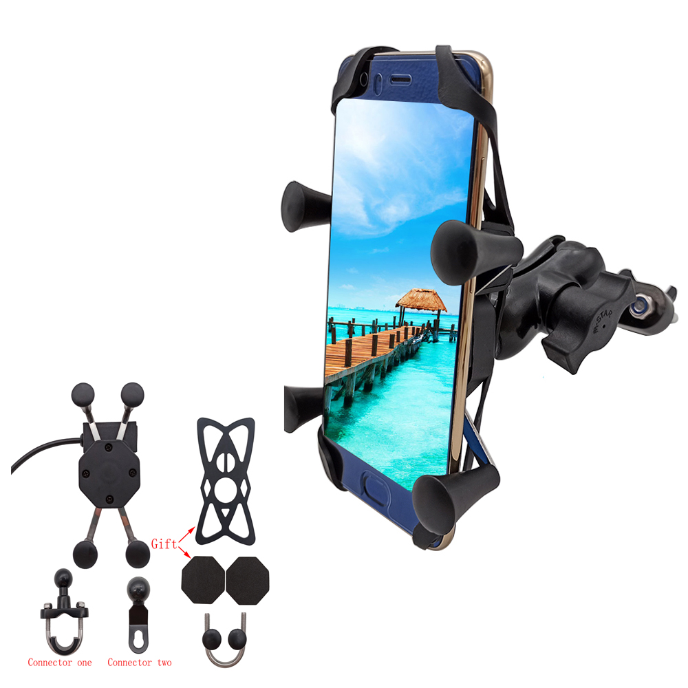 Universal Motorcycle Mobile Phone Holder With USB Fast Charger Switch For Yamaha FZ09 FZ6R FZ8 fz 1 09 <font><b>6</b></font> fzr <font><b>400</b></font> FZ1 FZ6 FAZER image