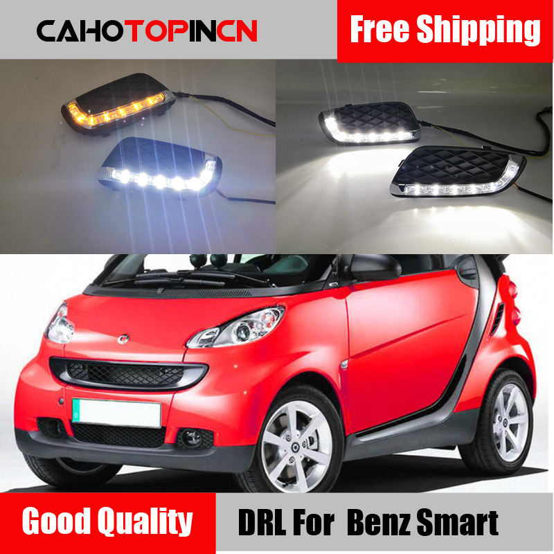led drl daytime running light for Mercedes benz smart fortwo 2008 2011 with Dynamic moving yellow