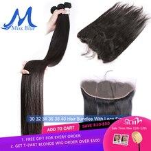 ブラジル毛織りバンドルと閉鎖ストレート 32 34 36 38 40 インチ人間の髪のバンドルレースフロント 13 × 4 透明
